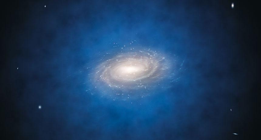 Modře halo temné hmoty kolem spirální galaxie. Kredit: L. Calçada/ESO.