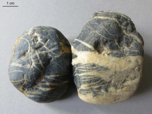 Lydity pocházející z Brd nalezené v pískovně u Postupimi. Kredit: M. Torbohm.