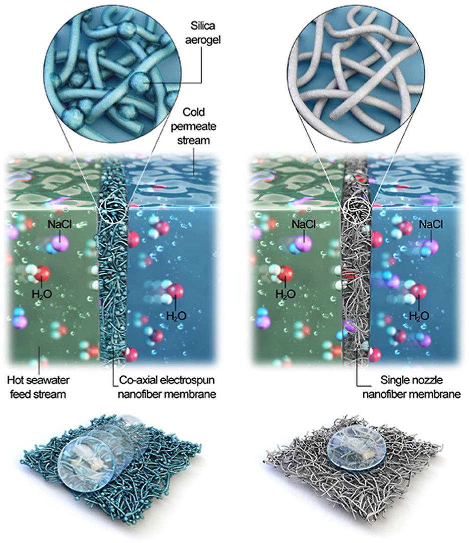 Přes hydrofobní membránu neprojde kapalná voda, ale vodní pára ano.  Grafický abstrakt. Kredit: Woo et al. (2021) /Elsevier.