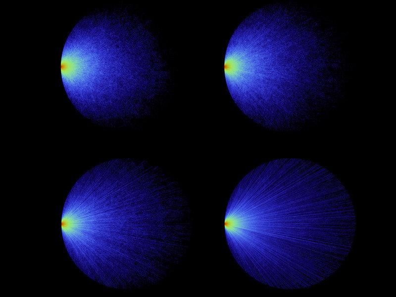 Simulace světelných cest v kruhovém systému s různými stupni opacity (schopnosti tělesa pohlcovat záření). Světlo přichází zleva v různých úhlech. Kredit: Romain Pierret & Romolo Savo, 2017
