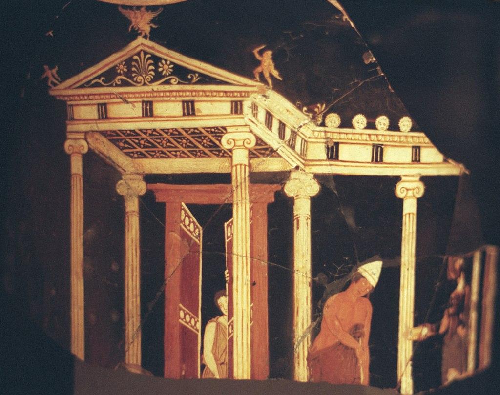 Perspektivní (prostorově iluzivní) malba na řecké keramice, 360 až 350 před n. l. Kredit: Wikimedia Commons