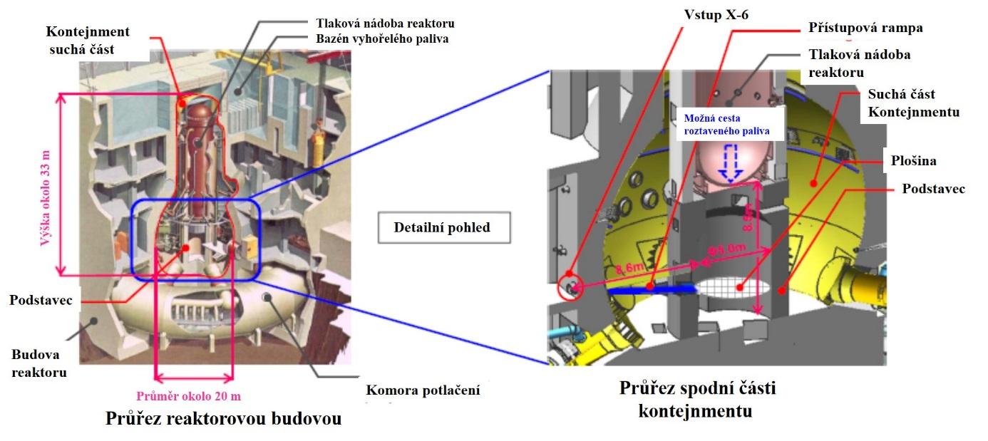 Cesta robotů do druhého reaktoru vedla přímo přes rampu vedoucí do centrální části (zdroj TEPCO).