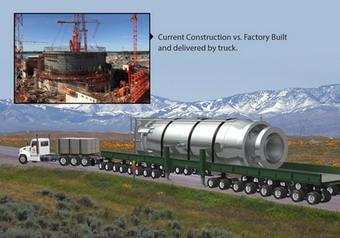 Představa výtvarníka o modulárním reaktoru o výkonu 50 MW společnosti NuScale Power (zdroj NuScale Power).