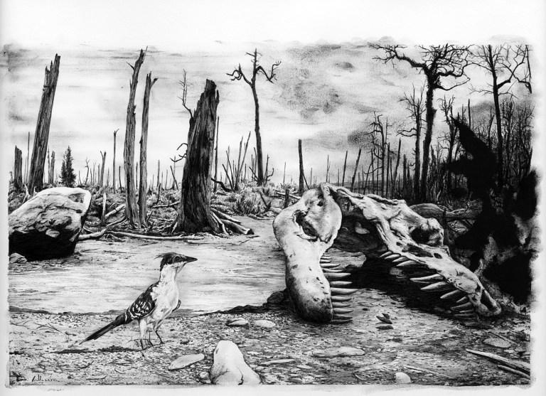 Představa umělce o zdevastovaném post-impaktním světě v době před 66 miliony let. Nové výzkumy ukazují, že zde nebyl jen prach, bahno a kamení. Na dlouhé roky tehdy totiž většinu rozlohy pevnin pokryl sníh a led. Kredit: Vladimír Rimbala (k autorově