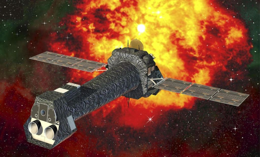 Rentgenová observatoř XMM-Newton. Kredit: D. Ducros; ESA/XMM-Newton.