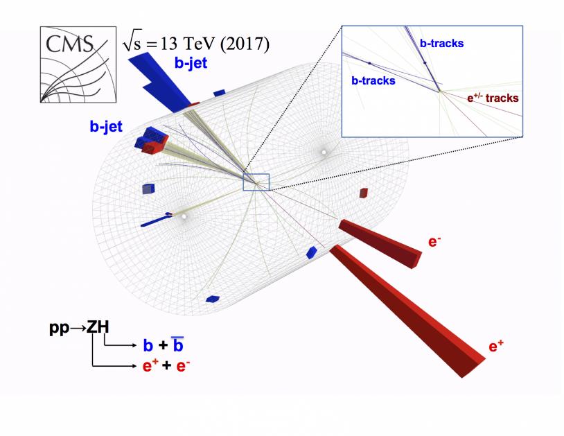 Zobrazení společná produkce Z bosonu a higgse a následného rozpadu higgse na dvojici kvarku b a antikvarku anti-b zaznamenané v experimentu CMS (zdroj CERN).