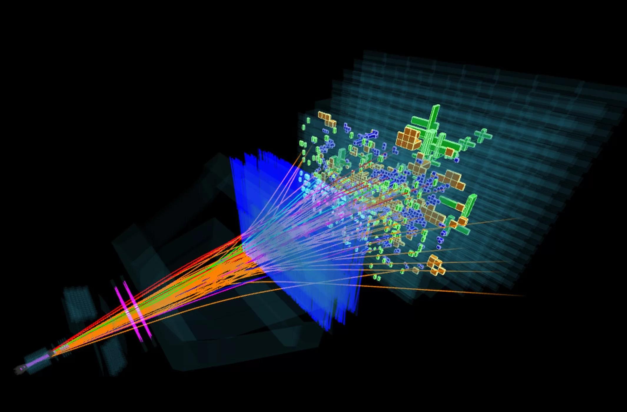Kolize protonu sprotonem na detektoru LHCb. Kredit: LHCB.