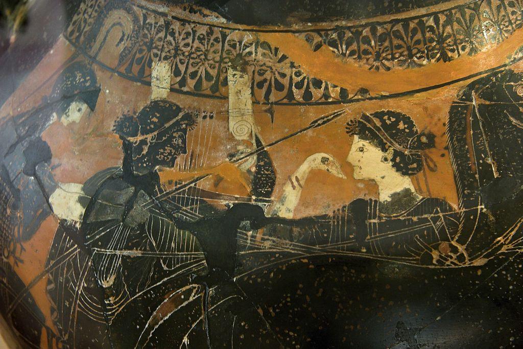 Scéna na váze, na níž je sedmistrunná lyra vyobrazena už v archaické době. Kredit: Wikimedia Commons.