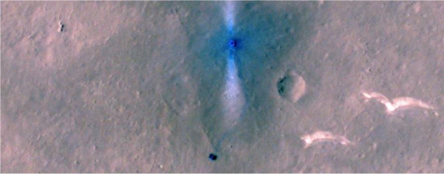 Místo přistání čínské sestavy s vozítkem Ču-žung vyfocené kamerou s vysokým rozilšením HiRISE americké orbitální sondy MRO (zdroj NASA).