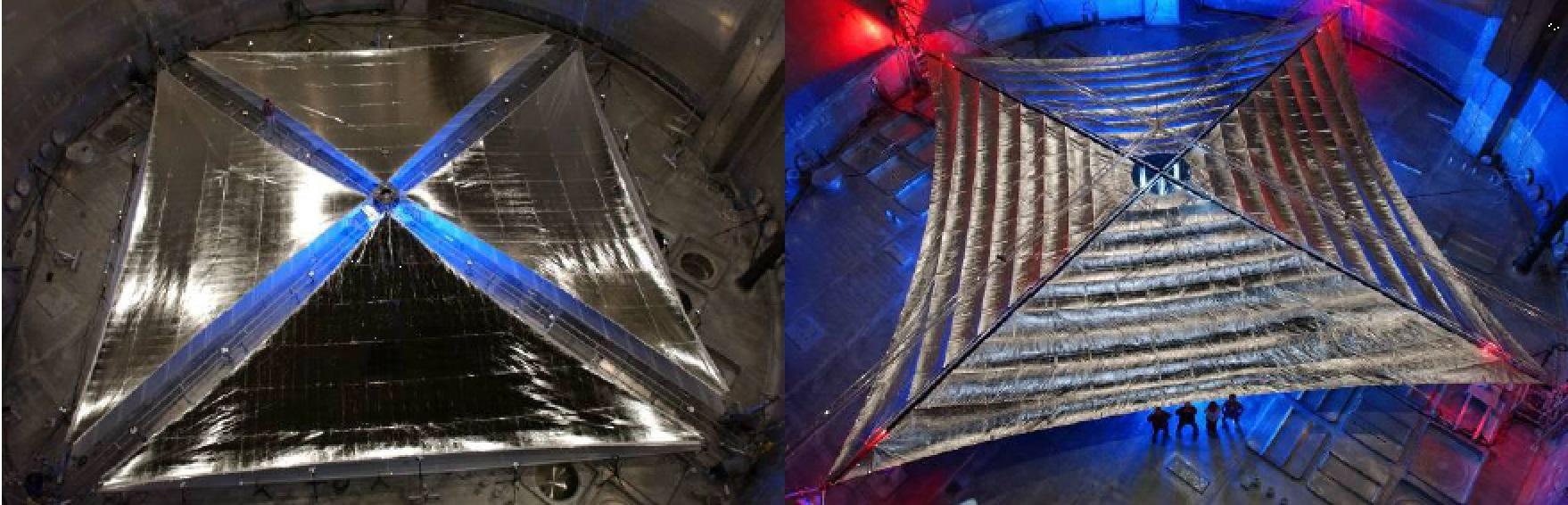 Dva prototypy sluneční plachty, které připravily pro NASA firmy ATK (nalevo) a L´Garde (napravo). Rozměr plachet byl 20×20 m2 a v letech 2004 a 2005 proběhly jejich komplexní testy i ve velkých vakuových komorách. (Zdroj L. Johnson, R. Yo