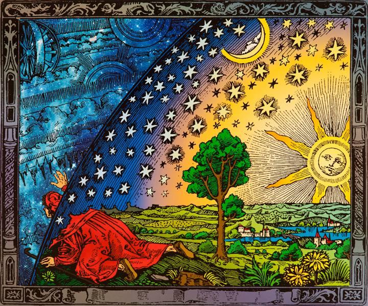 Mnich na konci světa vykukuje za sféru stálic. Kredit: Keplerovo muzeum. Wikimedia Commons.