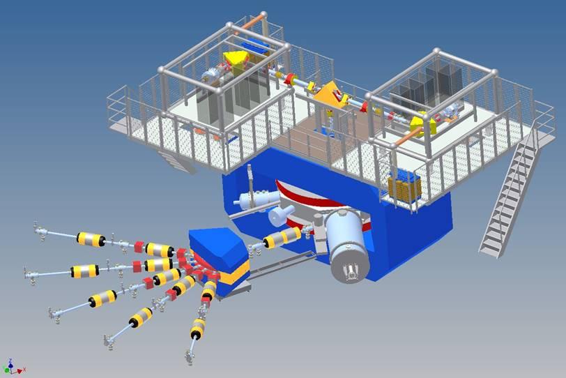 Schéma budovaného zařízení SHE-factory v SÚJV Dubna (zdroj SÚJV Dubna).