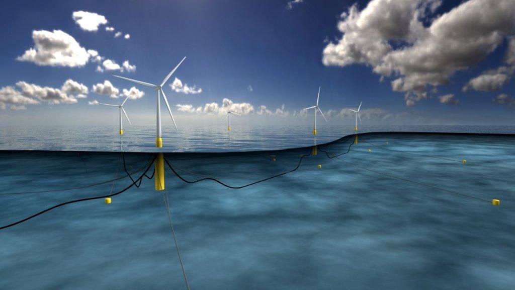 První plovoucí větrná farma Hywind (zdroj Statoil).