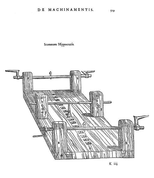Scamnum Hippocraticum. Petrus Galterius: Chirurgia e graeco in latinum conversa. Paris 1544. Kredit: Wikimedia Commons.