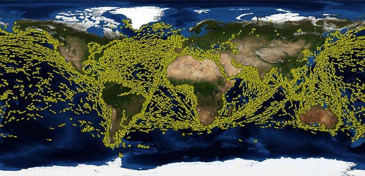 Pohyb lodí za jediný den – 29. července 2010 Zdroj: http://www.nasa.gov/