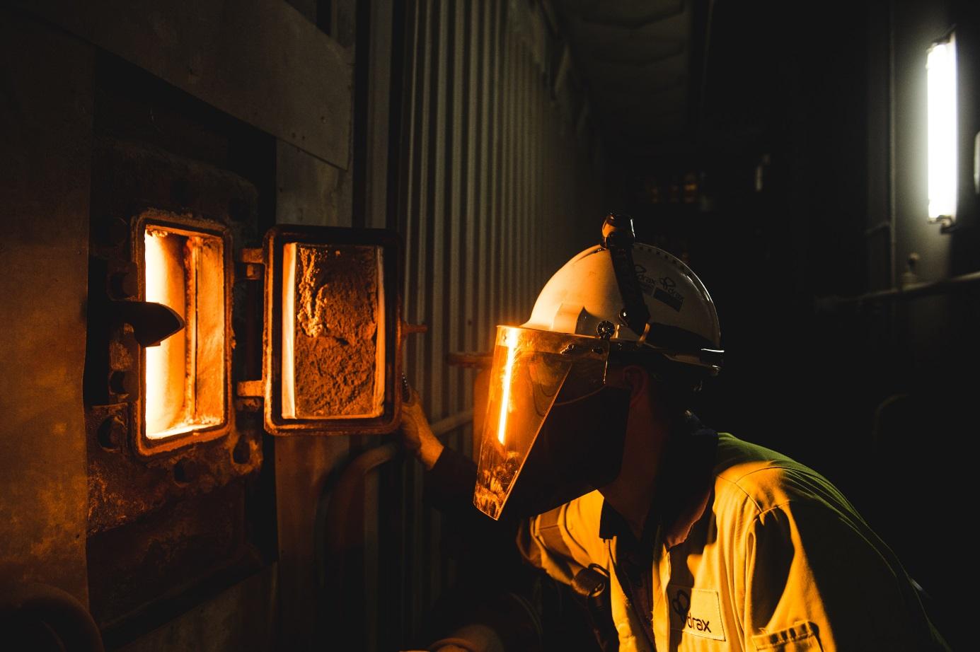 Spalování biomasy v elektrárně Drax (zdroj Drax).
