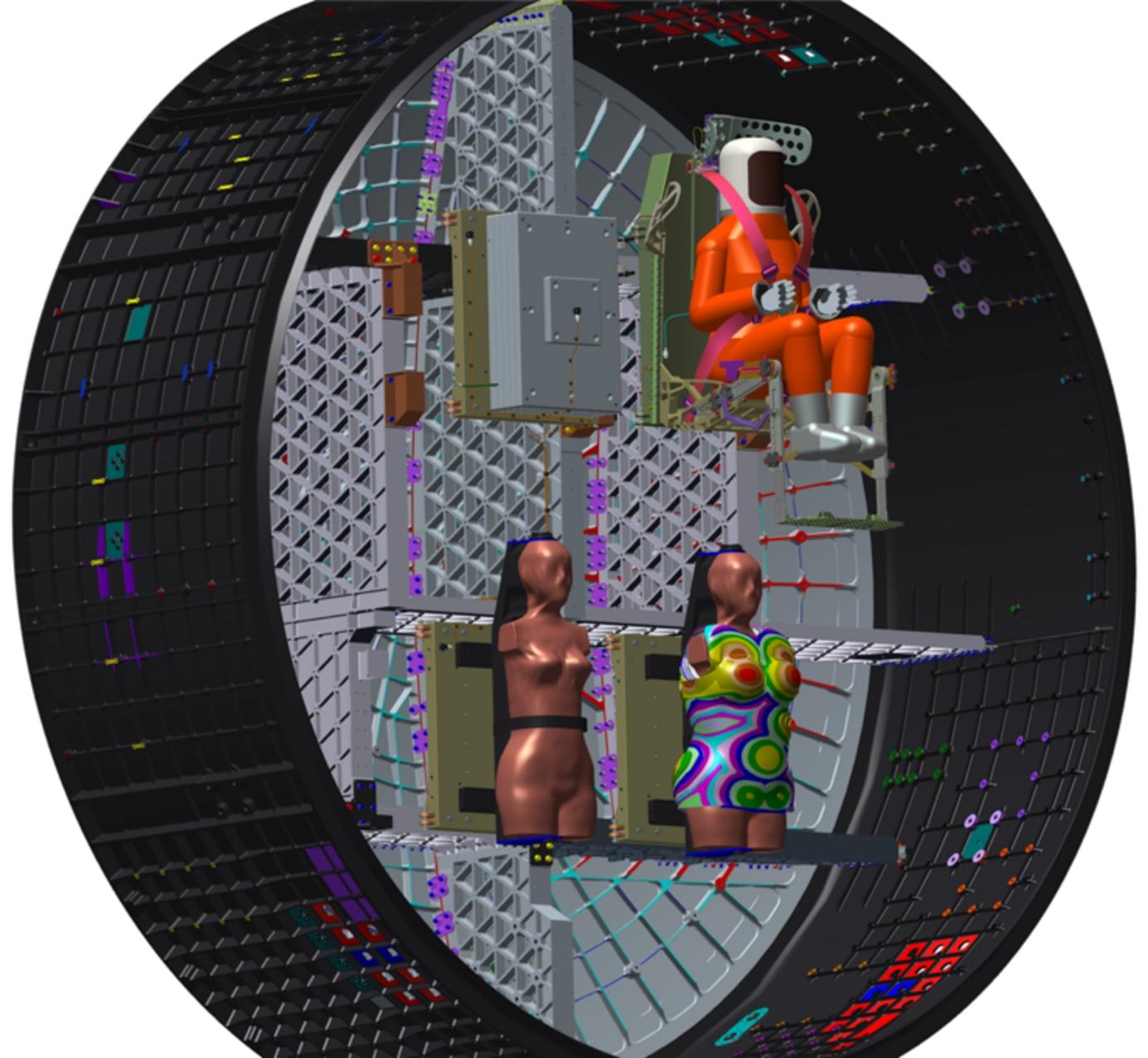 Umístění antropomorfních fantomů Helga a Zohar na palubě lodi Orion při letu Artemis 1 (zdroj Lockheed Martin).