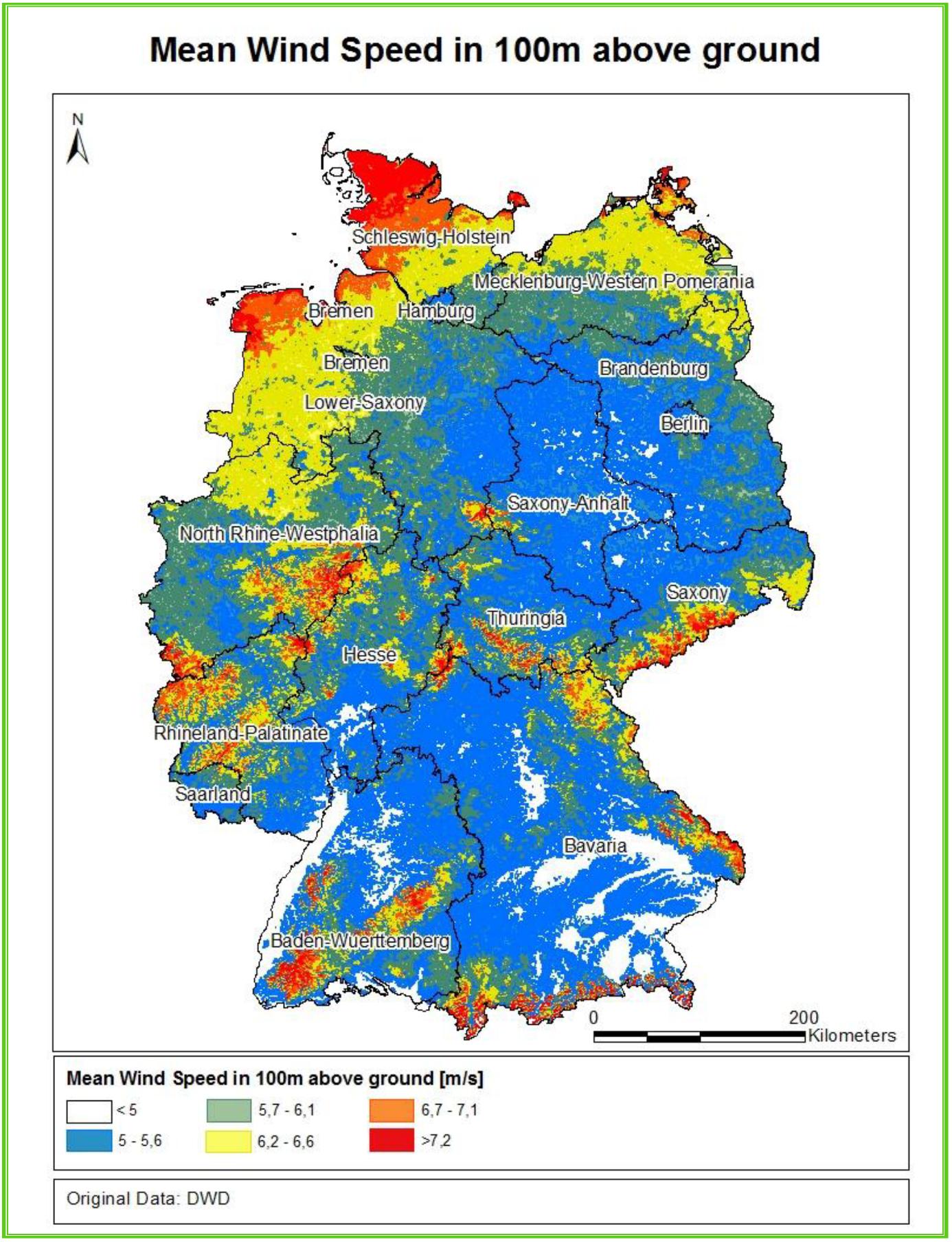 Průměrná rychlost větru v Německu. Je vidět zásadní rozdíl mezi severem a jihem.
