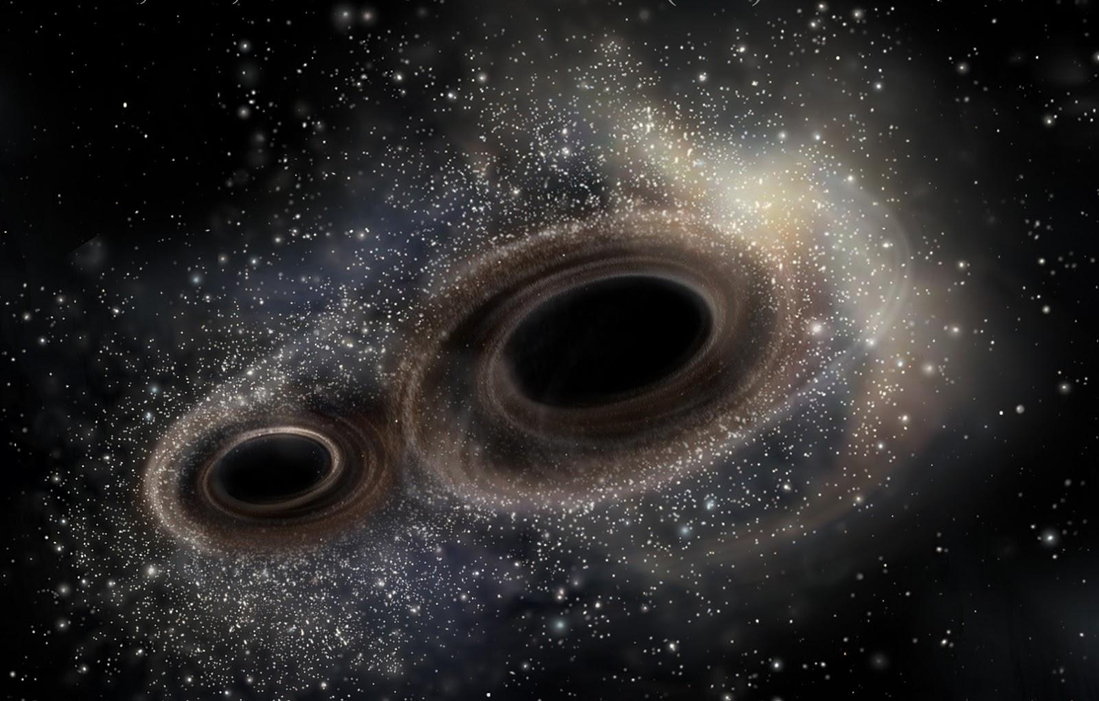 Splynutí dvou černých děr v  umělecké představě (zdroj LIGO).