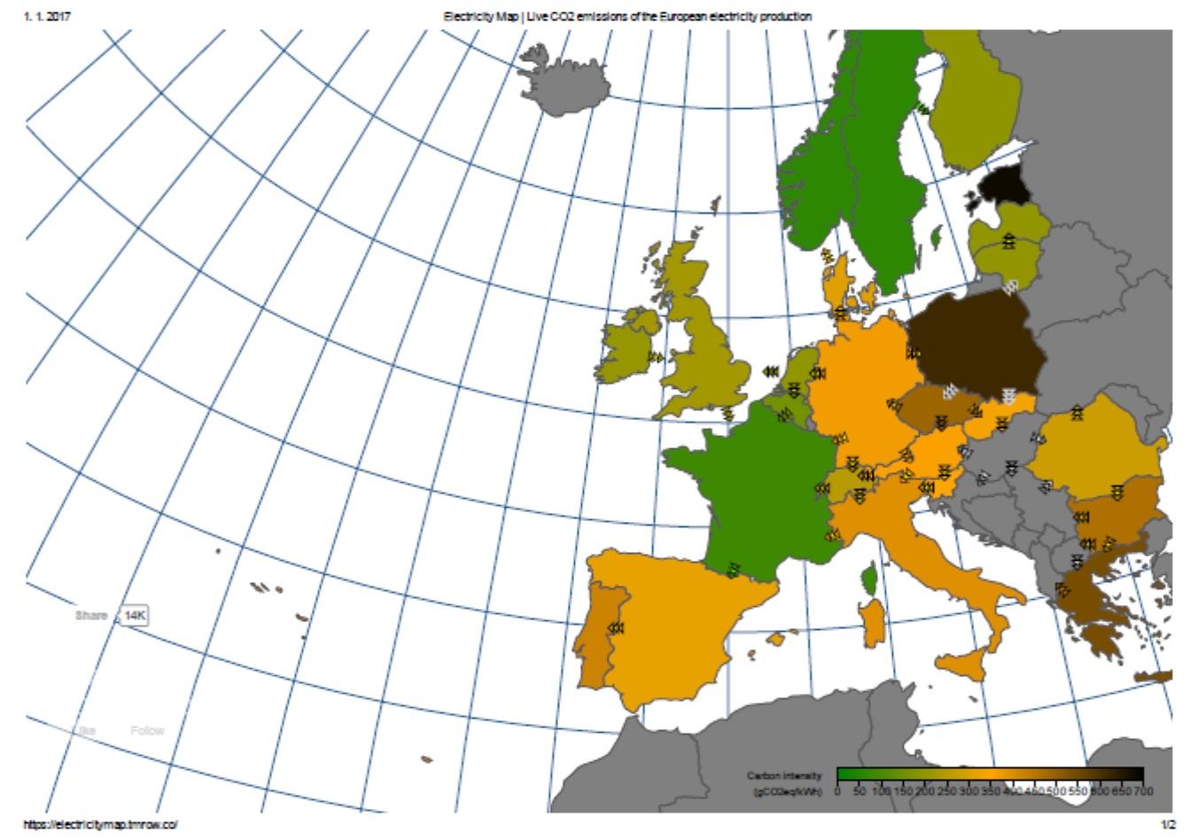 Emisi oxidu uhličitého lze průběžně sledovat na stránkách na stránkách https://electricitymap.tmrow.co/ . Takto vypadá situace v době, kdy je situace pro Německo ideální, ráno po Silvestru je minimální spotřeba a docela dost fouká.