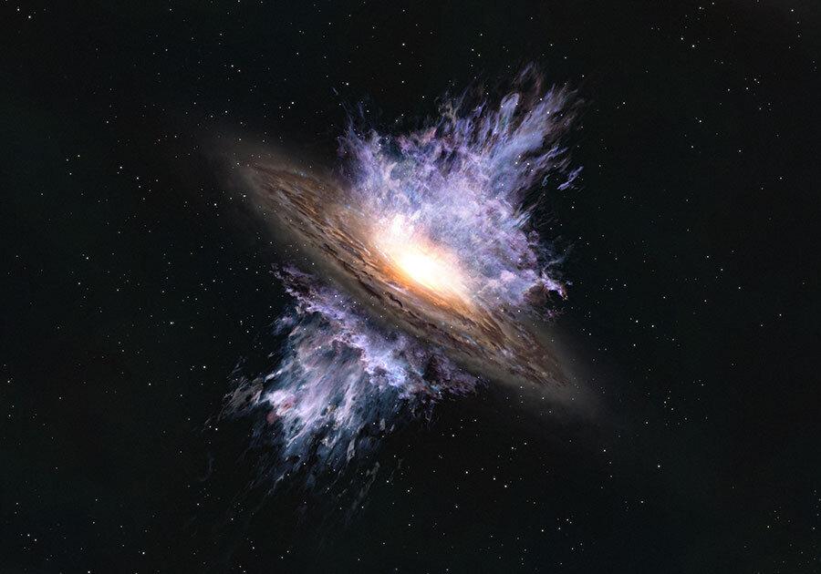 Galaktická bouře černé díry na úsvitu vesmíru. Kredit: ALMA (ESO/NAOJ/NRAO).