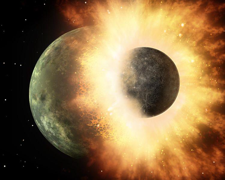 Jak si vypadala osudová srážka protoZemě sprotoplanetou Theia? Kredit: NASA/JPL-Caltech.