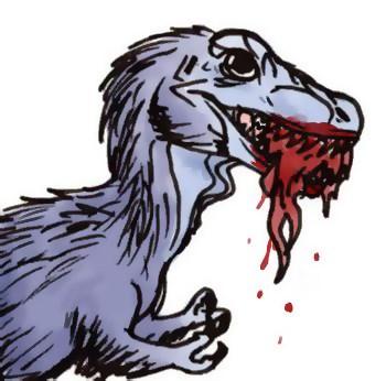 Spíše komické (či komiksové?) ztvárnění mláděte tyranosaura s pokryvem těla v podobě primitivného opeření a s tlamou plnou masa. Zřejmě již v několika měsících věku by byl jedinec druhu T. rex smrtelně nebezpečný i dospělému člověku. Kredit: Wikipedi