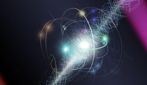 Elektron vexperimentu vpodobě oblaku virtuálních částic. Kredit: Nicole Fuller / NSF.