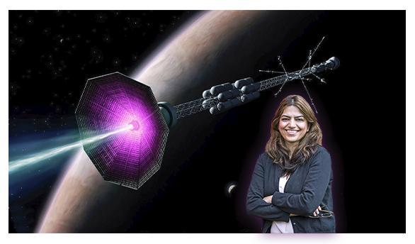 Fatima Ebrahimi skosmickou lodí. Kredit: Elle Starkman, PPPL Office of Communications, and ITER.