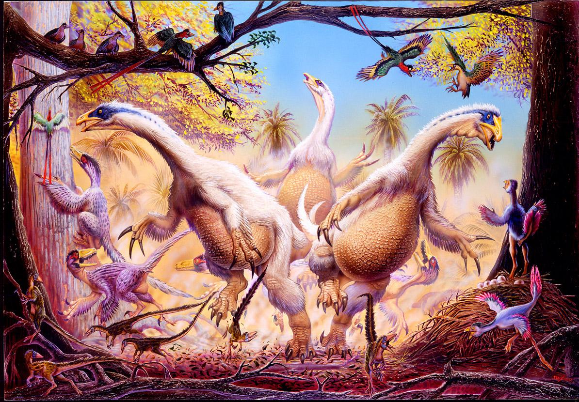 """OpeĹ™enĂ˝ ÄŤĂnskĂ˝ dávnovÄ›k s dinosaury rodu Beipiaosaurus, Sinosauropteryx a Caudipteryx a """"praptákem"""" rodu Confuciusornis. Všichni tito teropodi vykazovali nÄ›jakĂ˝ stupeĹ? tÄ›lesnĂ©ho opeĹ™enĂ, od jednoduchĂ©ho vláknitĂ©ho pokryvu aĹľ p"""