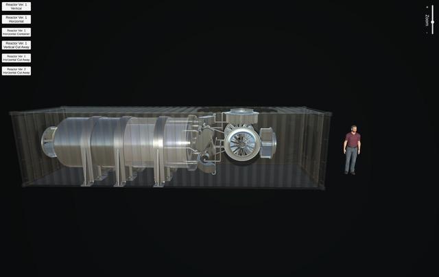 Mikroreaktor vměřítku lidské postavy. Kredit: Los Alamos National Laboratory.
