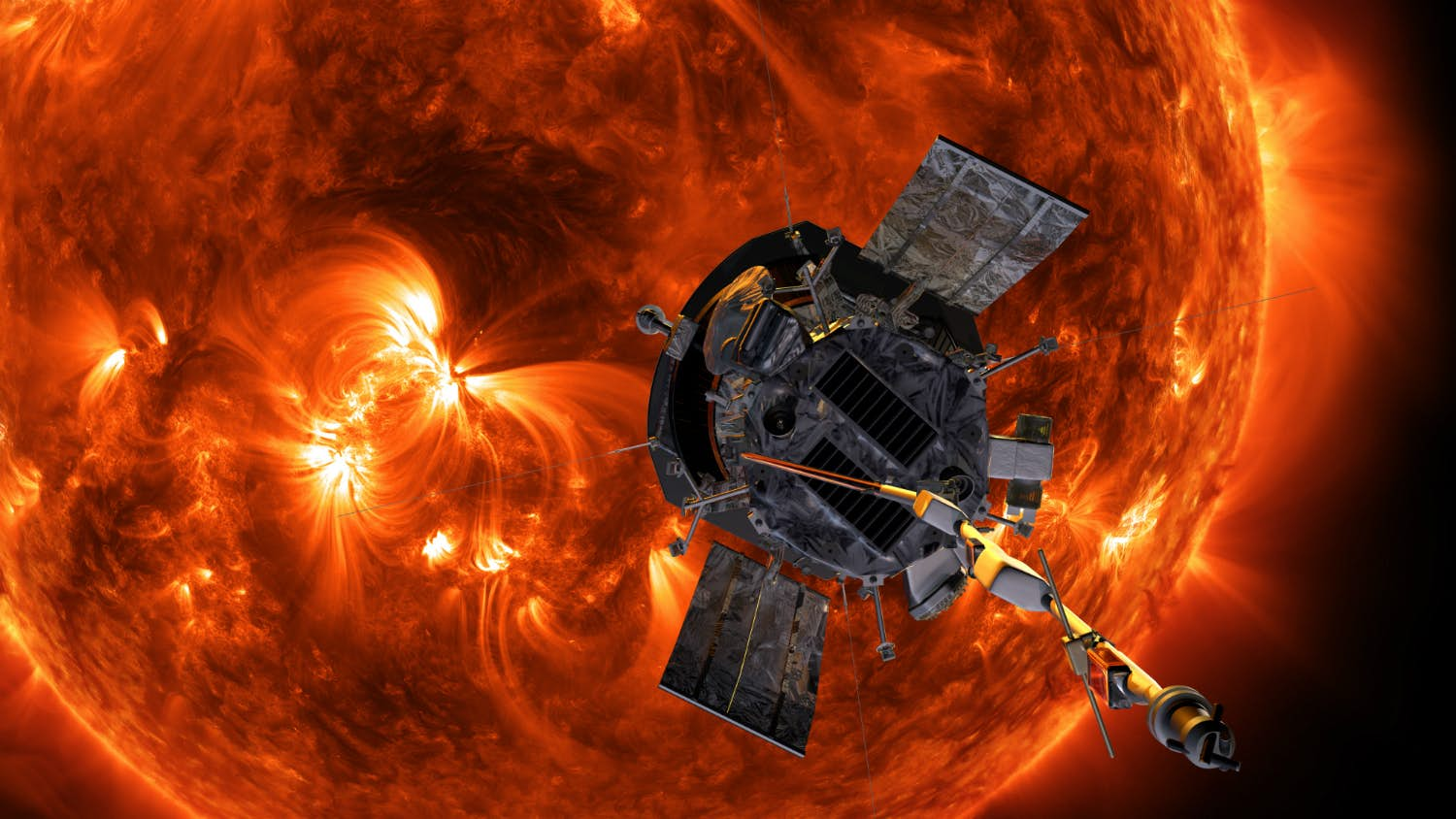 Parker Solar Probe. Kredit: NASA/Johns Hopkins APL/Steve Gribben.
