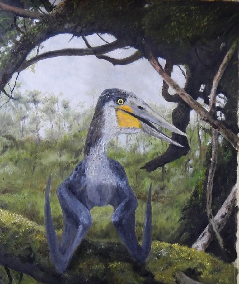 Rekonstrukce přibližného vzezření ptakoještěra druhu Cretornis hlavaci. Tento menší pterosaur obýval území současných Východních Čech v období geologického věku turon, tedy asi před 92 miliony let. Kredit: Vladimír Rimbala, pro autorovu knihu Dinosau
