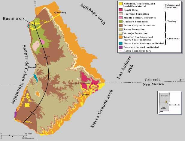Geologická mapa oblasti Raton Basin, v jejíchž svrchnokřídových sedimentech leží doklady o jedněch z posledních žijících neptačích dinosaurů. Pochází odtud také významné doklady o samotném K-T impaktu. Oblast se rozkládá na se