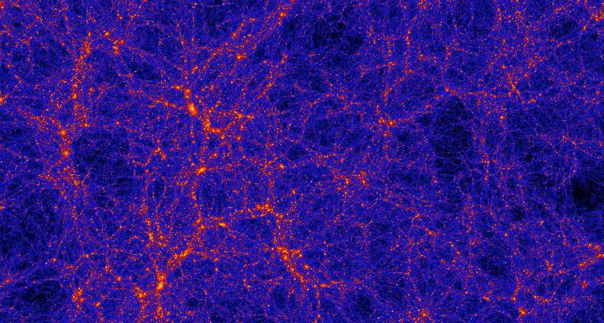 Vlákna temné hmoty sgalaxiemi vkosmické pavučině. Kredit: Anatoly Klypin/New Mexico State University, Joel Primack/UC Santa Cruz.