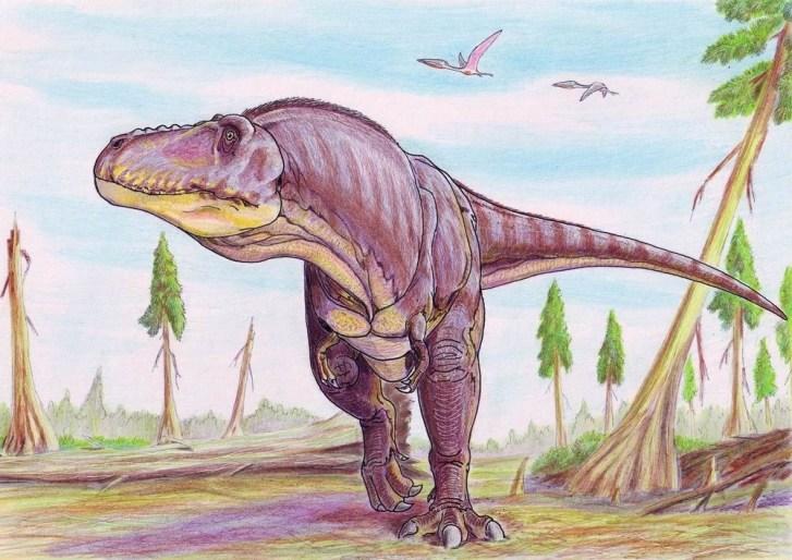 Moderní rekonstrukce živého vzezření obřího tyranosauridního teropoda druhu Tarbosaurus bataar z pozdní křídy Číny a Mongolska. V době před 70 miliony let tento až 12 metrů dlouhý a 6 tun vážící dravec představoval jednoho z dominantních predátorů v