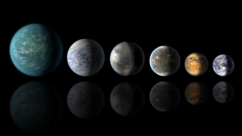Exoplanety podobné Zemi. Kredit: NASA.