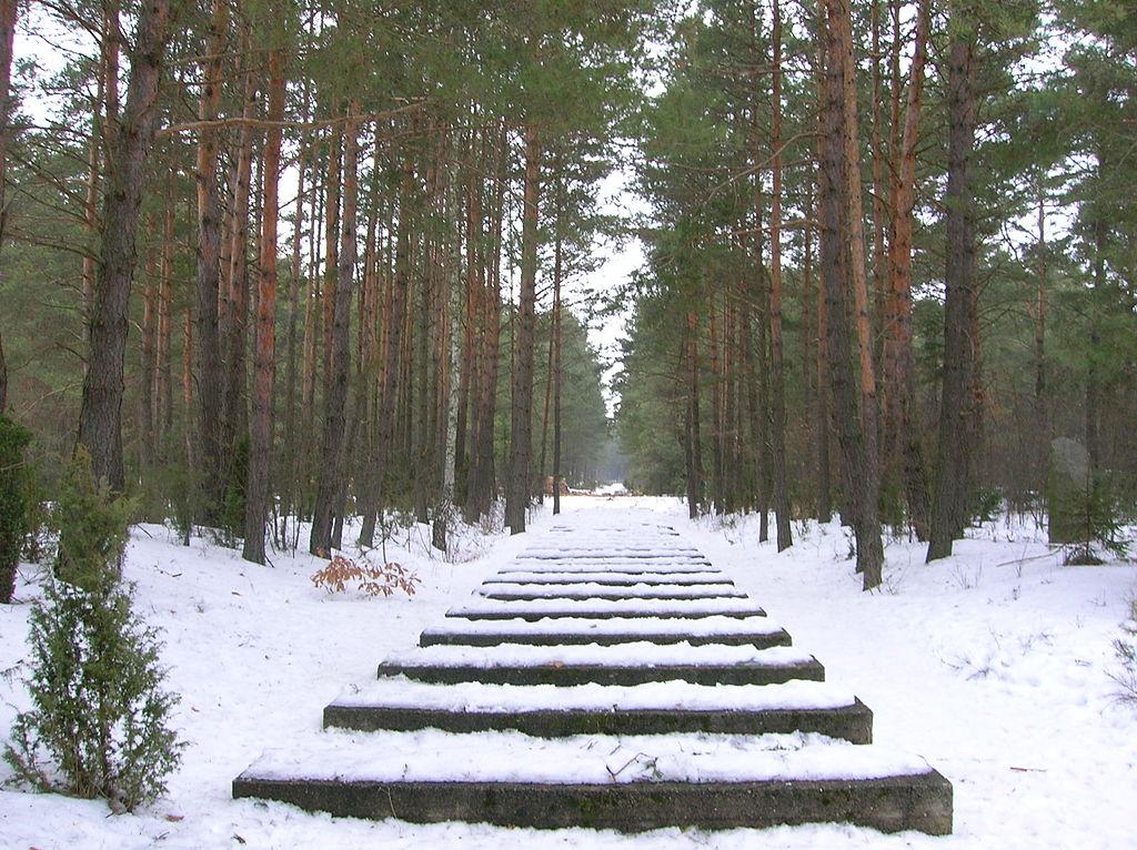 Symbolické pražce vedoucí do tábora smrti v Treblince. Kredit: Little Savage / Wikimedia Commons.