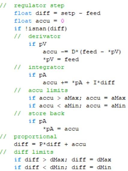 Kód PID regulátoru.
