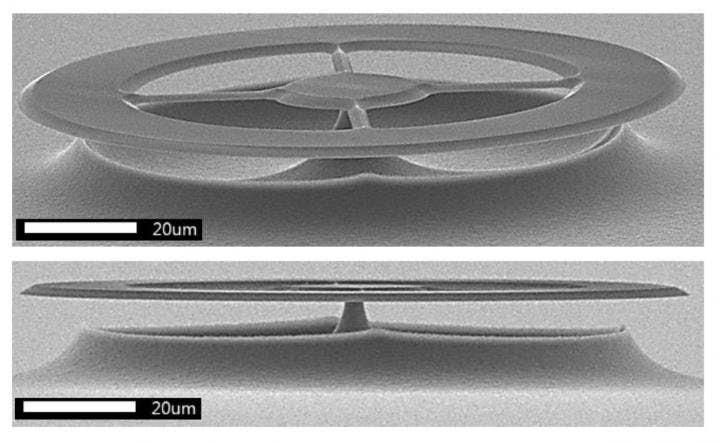 Křemenný disk ultrazvukového senzoru. Kredit: University of Queensland.