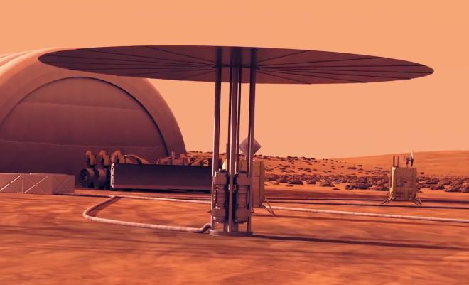 Umělecká vize reaktoru Kilopower (Zdroj Los Alamos).