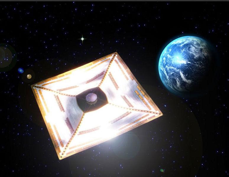 Zatím jediná fungující sluneční plachetnice byla japonská sonda Ikaros, která po startu ze Země doletěla až k Venuši a proletěla okolo ní (zdroj JAXA).