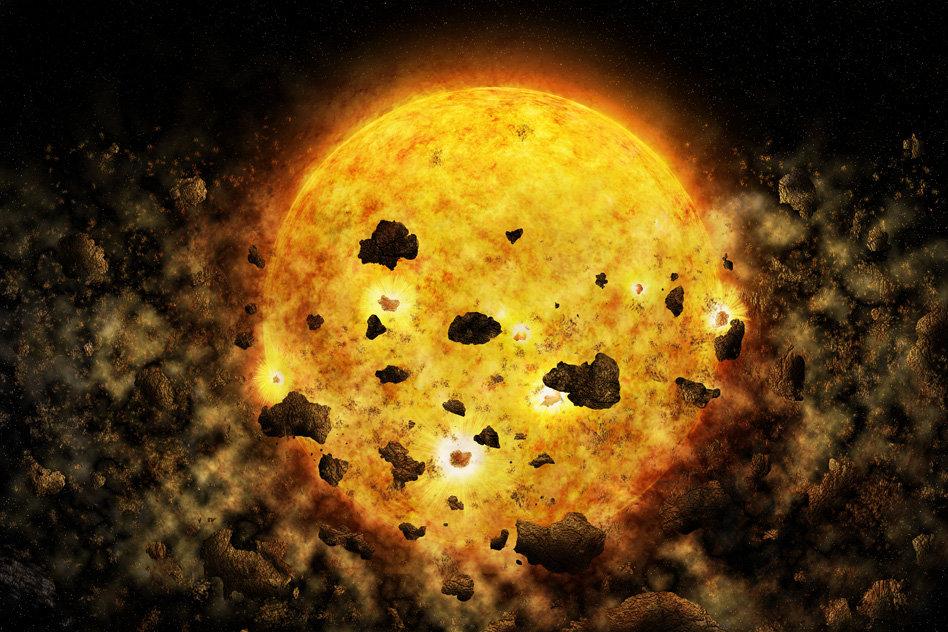 Destrukce planety mladou hvězdou. Kredit: NASA/CXC/M.Weiss.