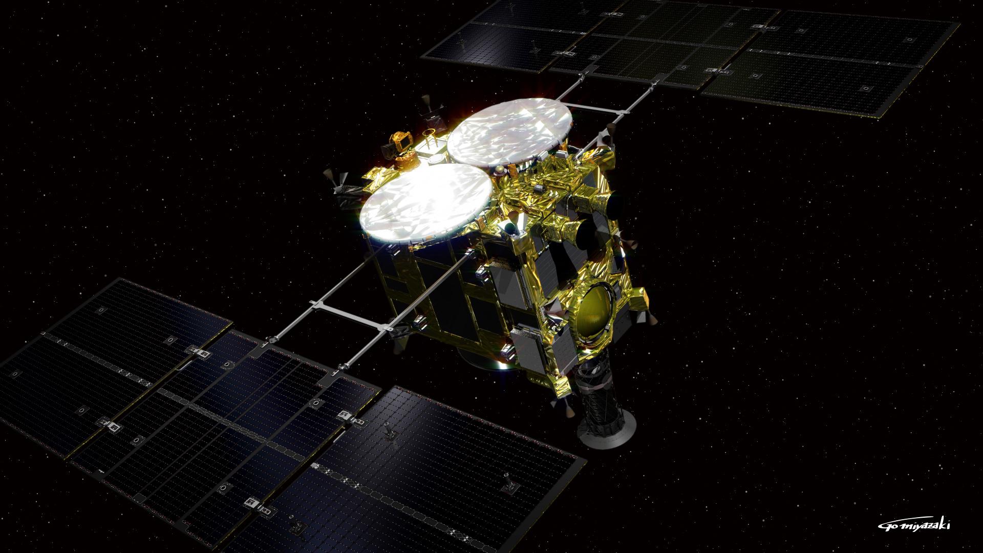 Hayabusa2 je asi 600 kg vážící sondaagenturyJAXA, která má za cíl prozkoumatasteroid Ryugu, přistát na něm a dopravit vzorky zpět naZemi. Vypuštěna byla v prosinci 2014. K bízkému kontaktu s Ryugu došlo 2018. Robotické sondy přistály na tělese a