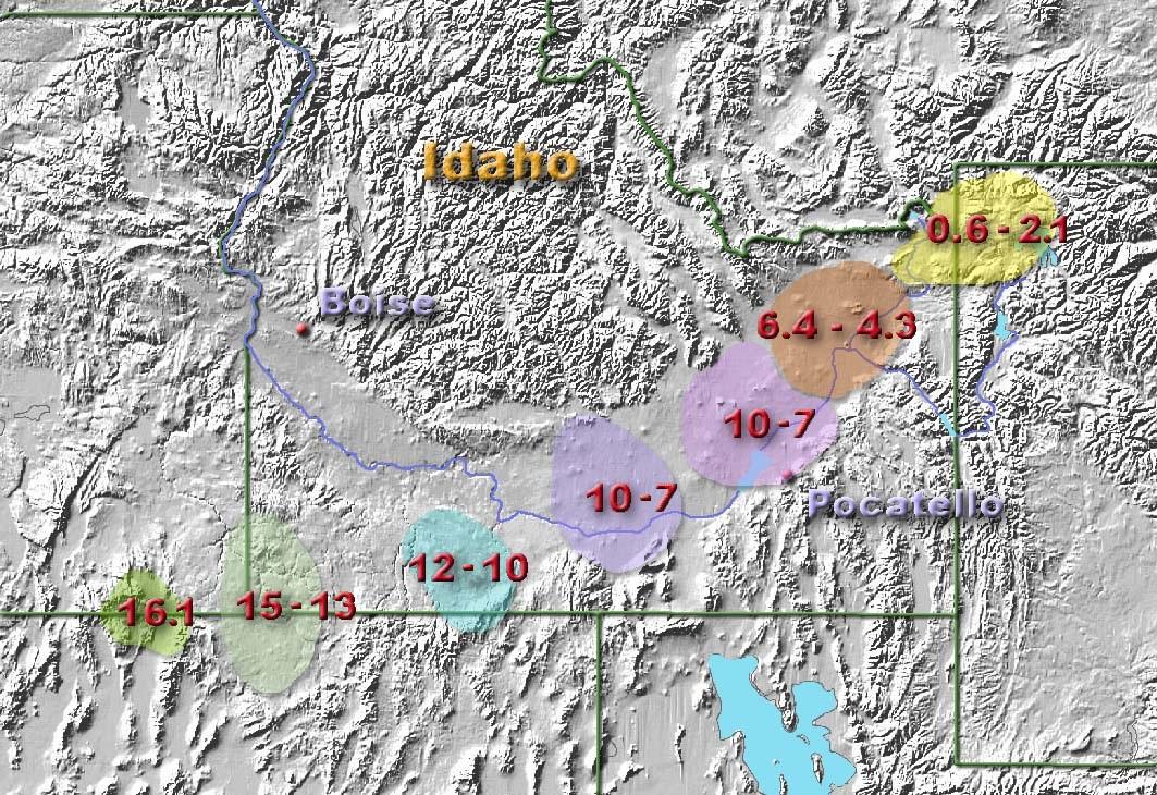 Pohyb supervulkánu Yellowstone během milionů let. Kredit: Kelvin Case / Wikimedia Commons.