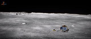 Umělecká představa indického přistávacího modulu na povrchu Měsíce v oblasti jižního pólu (zdroj ISRO).