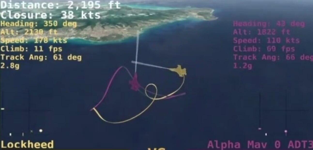 Virtuální souboj inteligencí na F-16. Kredit: DARPA.