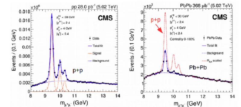 Rozdíl v produkci kvarkonií ?(1S), ?(2S) a ?(3S) v případě srážek protonů, kdy kvark-gluonové plazma nevzniká a u srážek olova, kdy se produkuje ve velkém množství. Mezony se rozpadají na dvojice mion a antimion. V grafu je klidová energie určená z e