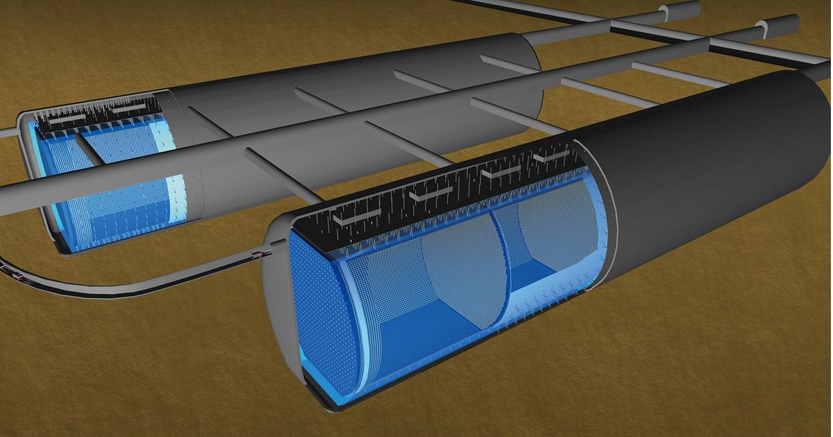 Schéma představy budoucího detektoru Hyper-Kamiokande (zdroj Hyper-Kamiokande).