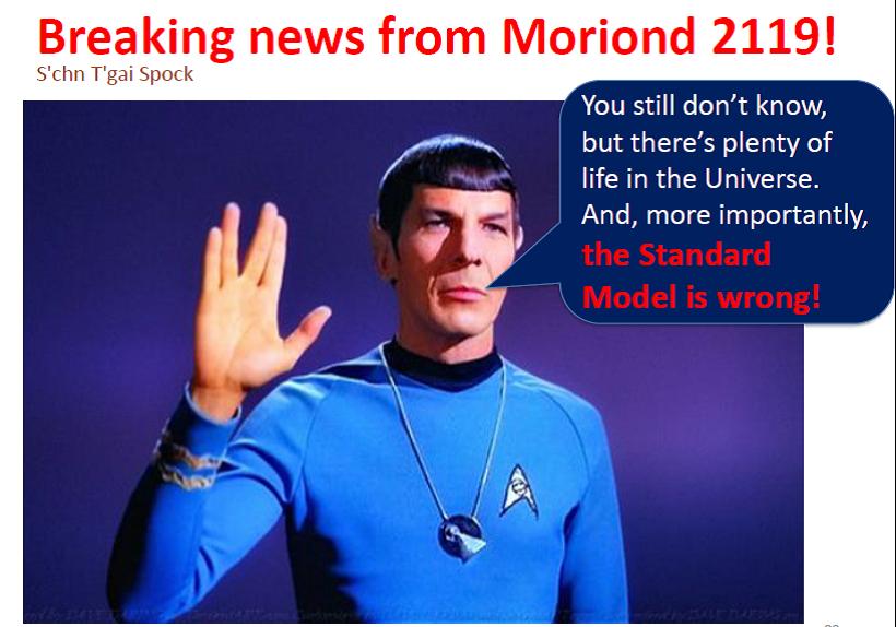 Co tedy na závěr říci k nové fyzice za Standardním modelem. Dovolím si převzít inspiraci ze shrnující přednášky Vincenza Vagnoniho na konferenci v Moriondu.